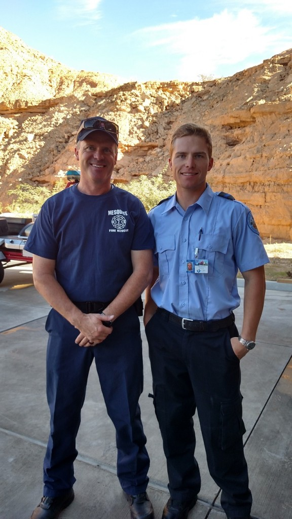 Who says it doesn't run in the family? At left, current firefighter Keith Browning and his son, Josey Browning, who is one of the 13 students participating in the local EMT training with Mesquite Fire and Rescue. Photo by Stephanie Frehner.