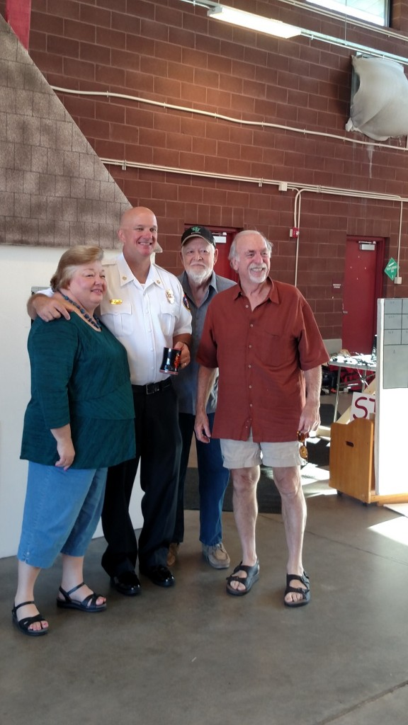 Several local officials made an appearance at Saturday's pancake breakfast, including, from left to right, Councilwoman Cindi Delaney, Fire Chief Kash Christopher, Councilman Rich Green and Mayor Al Litman. Photo by Stephanie Frehner.