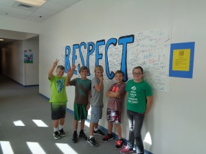 J. L. Bowler Student Council members having fun showing the respect banner. From left are Trey H., Wyatt L., Isaiah F., Sam W., and Mattysin E.  Submitted photo.