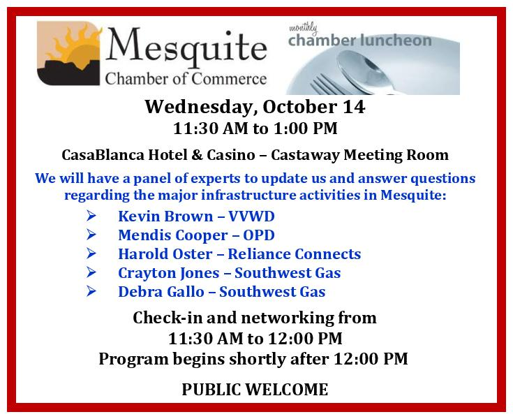 Mesquite Area Infrastructure Top Officials To Speak At Chamber Luncheon- Public Invited