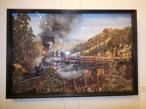 Jean Battaglia's 3-D Paper Tole creation, Steaming Down the Track is Best of Show. Photo by Linda Faas.