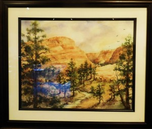 Jan Hansen created a Fanciful View in her blue ribbon watercolor. Photo by Linda Faas.