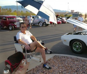 Best of Show winner Ron Serab relaxes in front of his 1970 Pontiac Firebird. Serab and 47 more classic cars were part of the annual Rotary Car Show and Chili Cook-off at the Eureka Casino Resort on Saturday, Oct. 24. Photo by Burton Weast.