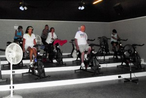 Al Litman has been instructing a morning spin class in the city of Mesquite for 10 years and these six individuals have been with Litman from the start.  Front row: Jo Merrill, Cecil Donoho. Second Row: Phyllis Litman, Tomata Edwards Last Row: Michele McNichol, Vivian Thacker. Photo by Teri Nehrenz.