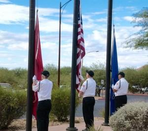 Virgin Valley Honor Guard Raise Colors. Photo by Burton Weast.