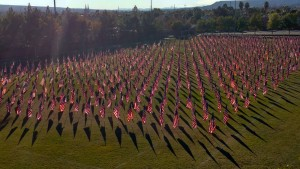 1000 flags adorn the west field at the Mesquite Recreation Center located at 100 West Old Mill Road.  It took approximately 40 volunteers from the community three hours to set up the impressive display. Photo by Nick Montoya.