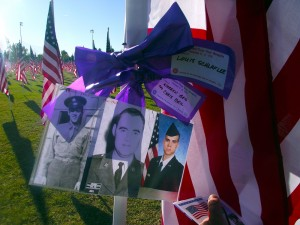 Flags can be purchased for $35 to honor or memorialize a friend, family member or any all veterans.  The flags can either be taken home or donated at the end of the week long display which runs through Nov. 15. Photo by Teri Nehrenz.