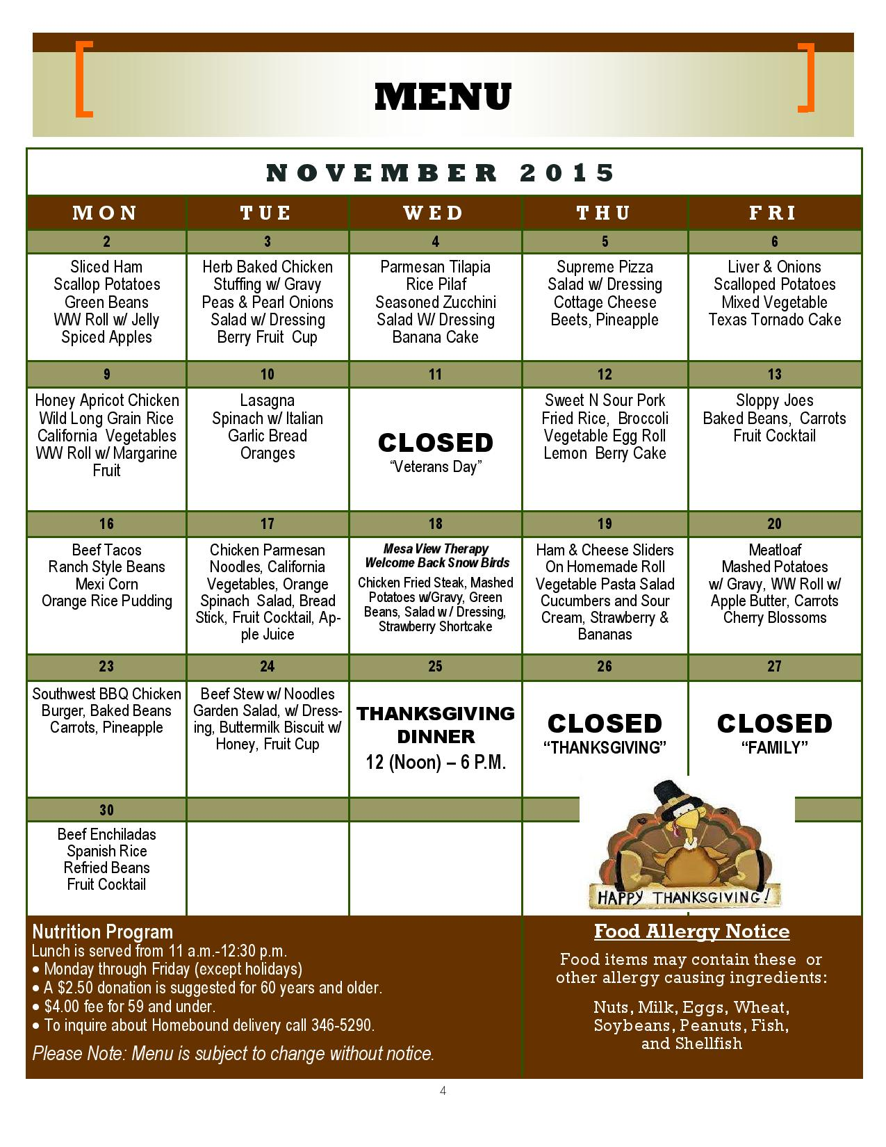 Mesquite Senior Center Menu – November 2015