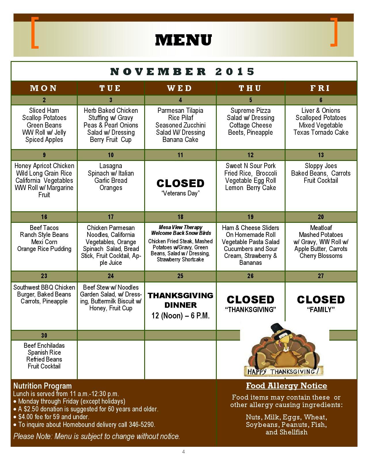 Mesquite Senior Center Menu – November 2015