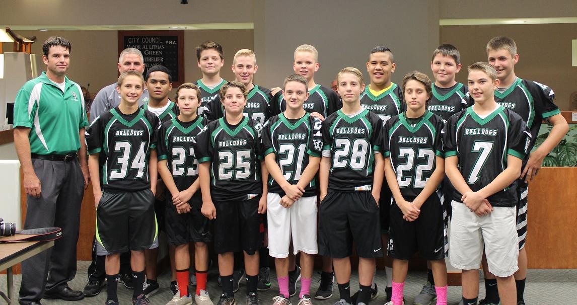 Middle School Football Team undefeated