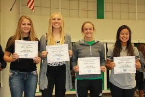 Bulldogs, from left, Abbie Barnum, Spencer Green, Kallie Graves and Marlene Quiarte were named to the 1-A Sunrise Conference first team. Photo by Lou Martin.