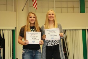 Lady Dawgs Abbie Barnum, left, and Spencer Green were named 1-A Sunrise Conference Most Valuable Player and Goalkeeper of the Year respectively. Barnum was also named to the 1-A Southern Division first team and Green to the second squad. Photo by Lou Martin.