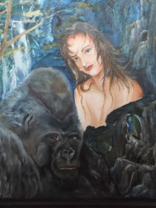 Lucky 13 Raffle winners could take home this Beauty and the Beast painting by Tom West. Raffle tickets are available at the Mesquite Fine Arts Gallery. Photo by Linda Faas.
