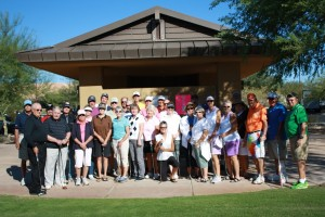 Thirty two players greeted VVHS Track Coach Gary Hartman (far left) to compete in a putting tournament fund raiser at Sun City Saturday morning. Photo by Lou Martin.