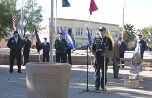 Mayor Al Litman opens the Mesquite Veterans Day memorial service on Saturday, Nov. 7 at the Veterans Memorial Park. Photo by Burton Weast.