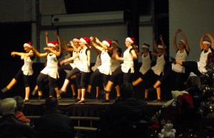 Hughes Middle School Dance Team, led by Denise Houson, showed their moves and entertained the crowd during the Festival of Trees which was held at the CasaBlanca Event Tent Nov18-21. Photo by Teri Nehrenz.
