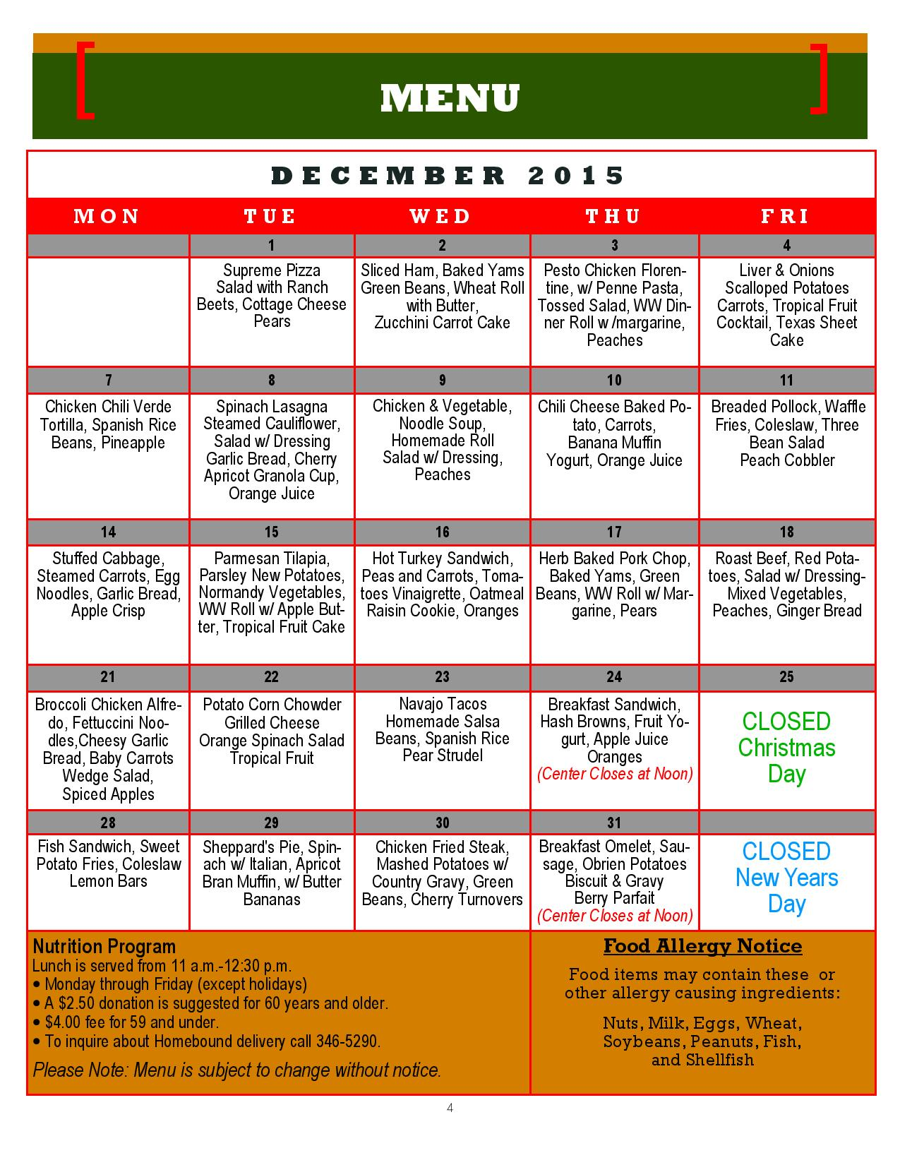 Mesquite Senior Center Menu: December 2015