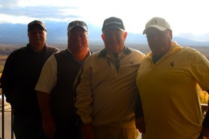Golfers Randy Perry, Lonnie McClure, Tom McCullough and Nick Sanchez are all part of the Beaver Dam Mafia Golf Club and say the Dec. 22 cold, wet weather didn't bother them one bit.  All four hail from Wyoming and were glad to golf that day for a good cause.  Golfers raised $1,070 for the Beaver Dam Food Bank.  Photo by Teri Nehrenz.