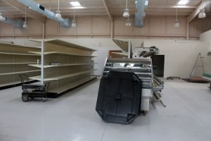 Shelves are set in the new Beaver Dam Store and the coolers are waiting to be installed. Owner Bill Evans is waiting on county inspections that need to be completed before opening. Photo by Teri Nehrenz.