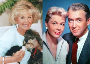 Split screen of Doris Day with dogs Lovey and Biggest from the late 70s credit Doris Day_ And with Jimmy Stewart publicity still from The Man Who Knew Too Much - Paramount