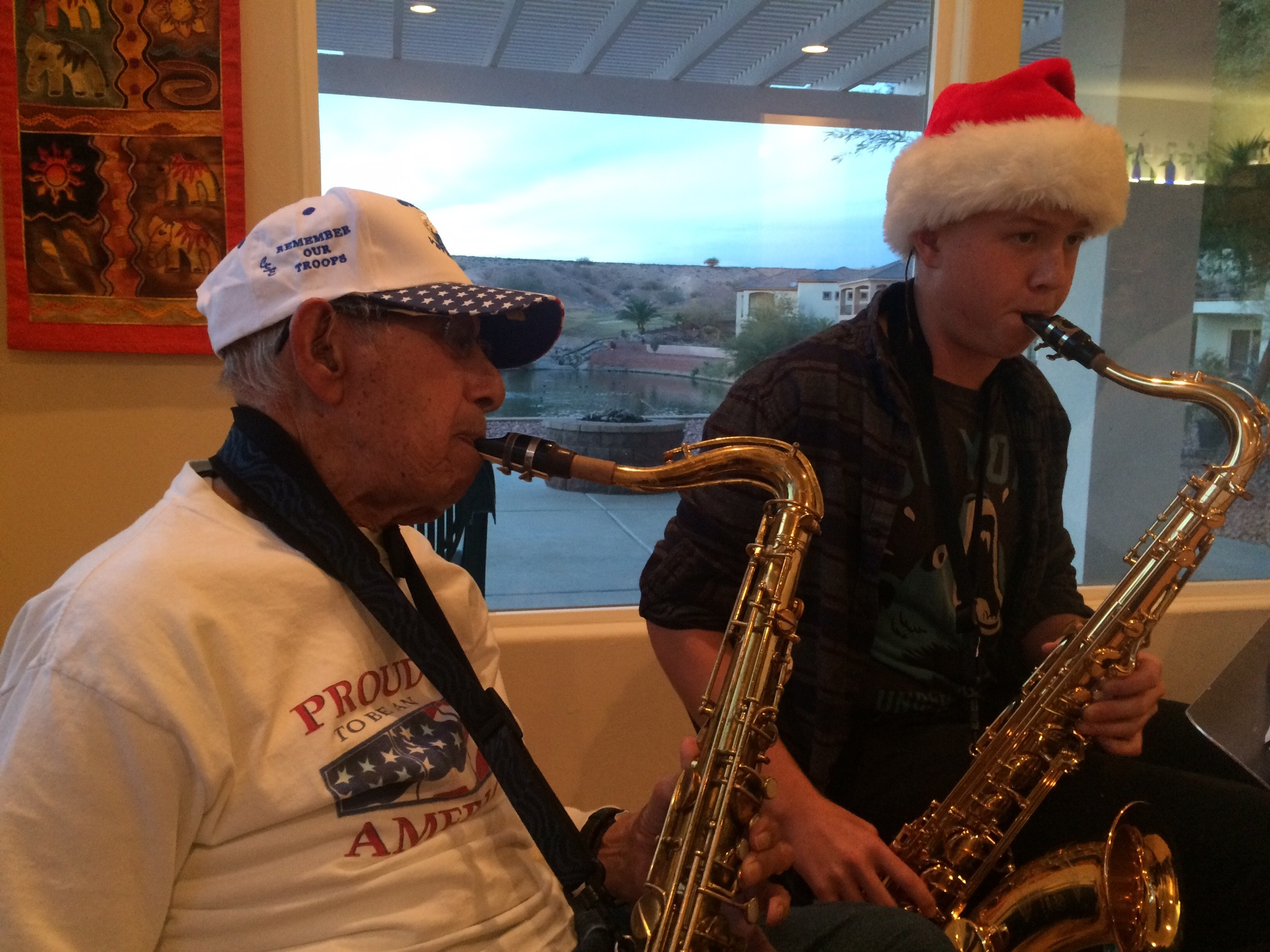Dueling Saxes brighten Christmas season