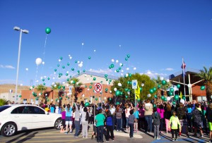 Hundreds of balloons, many containing messages from friends and family members, were released into the sky over Mesquite on Nov. 25 in memory of Ethan Mendenhall.  Ethan was a 10 year old student at Virgin Valley Elementary School and an inspiration to all who knew him.  Ethan passed away on Oct. 28, 2014 after a 5 year battle with cancer. Photo by Teri Nehrenz.