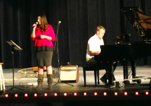 Heather Law performed at the Mac-Spec-Tac Christmas show on Nov. 24 at the Virgin Valley High School.  Law was accompanied on several of her songs by husband and pianist Cody Law. Photo by Teri Nehrenz.