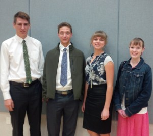 Pictured Left to Right: Reed Jensen, Bryton Tobler, Hanna Haviland and Madison Julien. Submitted photo.