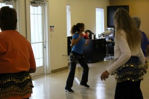 Griseyda Belalcazar, Senior Services Supervisor, keeps her students motivated during her Zumba class on Jan. 20.  Belalcazar teaches fitness classes for women of all ages and fitness levels at the Senior Center. Photo by Teri Nehrenz.