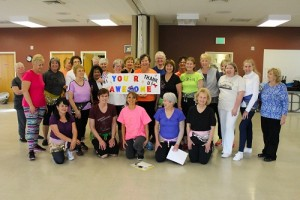 Class members get together to surprise and honor Griseyda Belalcazar for her years of dedicated service in keeping the women of Mesquite fit and healthy. Photo by Teri Nehrenz.