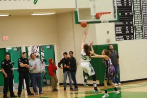 Bulldog Brianna Todd scores on a fast break in the Dawgs loss to Chaparrall Friday, Jan. 15. Todd had 12 points in each of the last two games for the Bulldogs. Photo by Lou Martin.