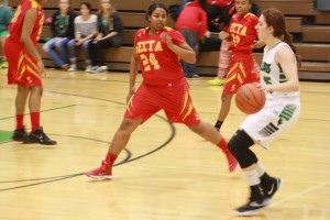 Bulldog forward Brianna Todd pushes the ball up court Thursday night, Jan. 21 during the Dawgs 56-29 defeat over the Roadrunners. Todd led the Dawgs with 13 points. Photo by Lou Martin.