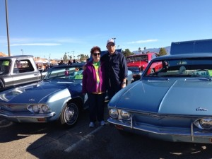 """Dee and Jane Zuehisdorff of Scenic show their """"his and hers"""" 1965 Corvair Monza's at the Mesquite Motor Mania show, Jan 15 through 17. Photo by Burton Weast."""