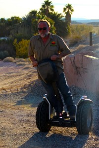 The Camel Safari also offers all-terrain Segway tours. Seeklus demonstrates how easily the Segways handle the desert terrain. Photo by Teri Nehrenz