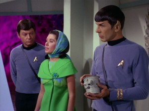 DeForest Kelley, Elinor Donahue and Leonard Nimoy in a scene from the Star Trek episode Metamorphosis