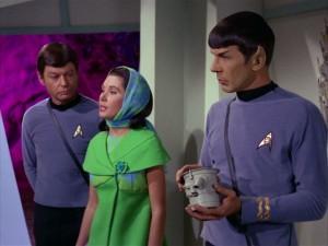 DeForest Kelley, Elinor Donahue and Leonard Nimoy in a scene from the Star Trek episode Metamorphosis