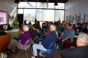 Dave Zeleniak's presentation at the VVAA's Brown Bag Luncheon held at the Mesquite Fine Arts Gallery on Tuesday, Feb. 2 was well attended by both men and women. Photo by Teri Nehrenz.