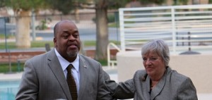 Foust Announcement-02-04-16: Niger Innis, left, national chairman of the Tea Party, introduces Mesquite resident Connie Foust as a candidate for State Assembly district #19 on Friday, Jan. 29. Photo by Barbara Ellestad.