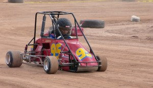 Alexa Tripp-Herring at full speed on the dirt oval track. Photo by Burton Weast.