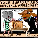 Political Cartoon 'Caucuses'