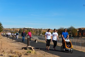 Mesquite citizens, 358 total, of all ages and their canine companions walked the 3.2 mile route from the Mesquite Recreation Center to Mesa View Hospital on Friday, Feb. 12 in support of the 12th Annual Heart Walk. The Walk was founded by Mesa View Hospital and supported by many other local businesses and the Mesquite Department of Recreation and Leisure Services. Photo by Teri Nehrenz.