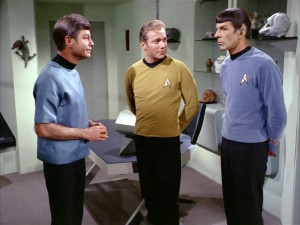 Screen shot of McCoy, Kirk and Spock in the original Star Trek series