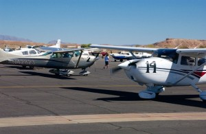 Two of the contestant planes lining up at the Mesquite Municipal Airport. Photo by Burton Weast.