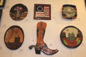 The Art Walk Exhibit at the Mesquite Fine Arts Gallery which will run from Feb. 29 to March 26 displays many different works of art from various local artists one of which is Kent Lang who is exhibiting some fine Western themed clay art.  Photo by Teri Nehrenz