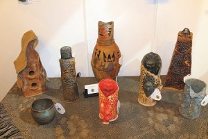 Clay art by Koko is only one part of this artist's display on exhibit now through March 26 during the Art Walk exhibit at the Mesquite Fine Arts Gallery.  Koko also has some lovely clay masks on display.  Photo by Teri Nehrenz
