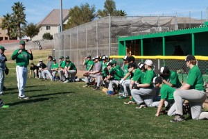 VVHS Coach Justin Goodsell giving instructions to his young Bulldog hopefuls Saturday Feb. 27 at the Dawg Pound baseball field. Photo by Lou Martin.