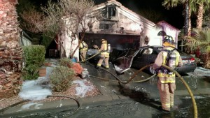 After the fire was extinguished, three cars were deemed as destroyed on Fairways Drive Thursday night. The cause of the fire is still under investigation. Photo by Mesquite Fire & Rescue.