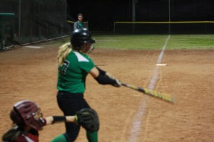 Savannah Price #17 drove in the winning run in the bottom of the seventh inning to give the Lady Bulldogs the win over TECH 4-3. Photo by Lou Martin