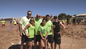 The Mudders knew from the beginning they would prevail, as shown by their confident smiles after their first match. Back row, left to right are Chad Klein, Keith Buchhalter, Joe Aquinas and Andrew Bird with Kaite Klein and Ashlan So in front. Photo by Stephanie Frehner.