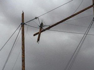 After the fire was out, this is what remained of one of the necessary poles at the Tortoise Substation in Glendale Sunday, March 6 after a lightning struck it. Crews worked for the following 16 hours to replace this and one other pole to restore power to nearly 15,000 customers in Clark County and countless others in Lincoln County. Photo by OPD Facebook Page.